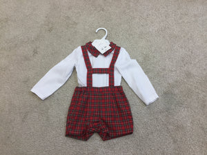 Nina's and Nino's two piece boys Red tartan outfit.