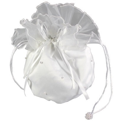 Satin Dolly Bag With Organza Frill & Pearl Flower