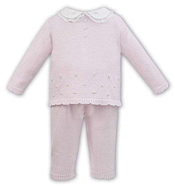 Sarah Louise 2 piece Knitted Set 008008 Pink/Ivory