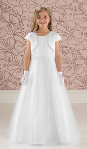 Linzi Jay Faith White Communion Dress with Satin Jacket