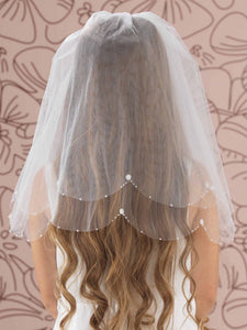 Linzi Jay LA120 Beads Flowers and Pearls Edge Communion Veil