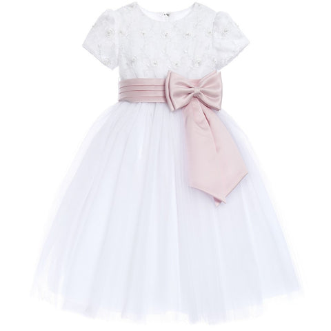 SARAH LOUISE Pink SASH and BOW