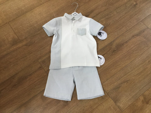 Sarah Louise 2 piece boys grey and white woven Tshirt and shorts set
