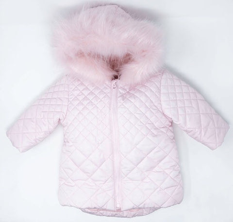 Mintini Girls Fur Hood Pink padded coat