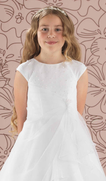 Linzi Jay Leah Ruched Skirt Communion Dress with Beaded Bodice