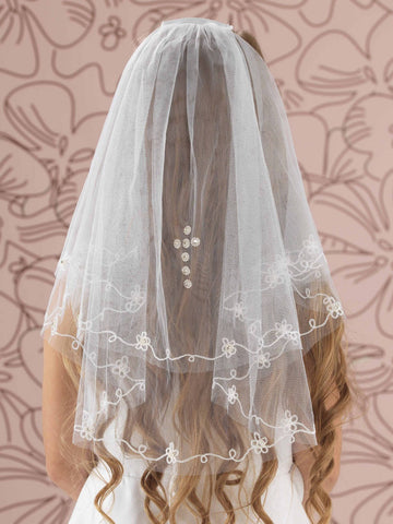 Linzi Jay LA154 Diamanté Cross and Flower Embroidery Communion Veil