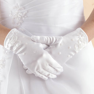 Linzi Jay Satin Gloves with Flower Pattern Beaded Design