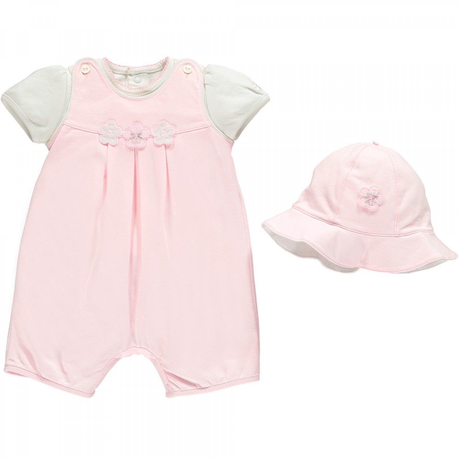 Emile et Rose Kerrie Girls Romper Set with Flowers & Hat