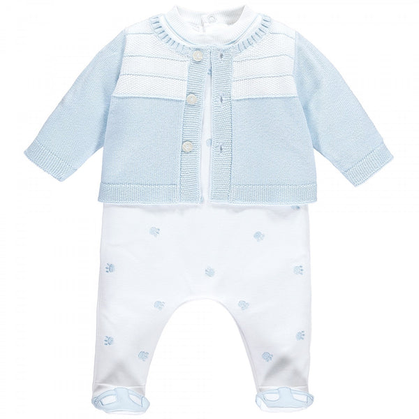 Emile et Rose Lionel Paw Pattern Boys Blue Babygrow & cardigan Set