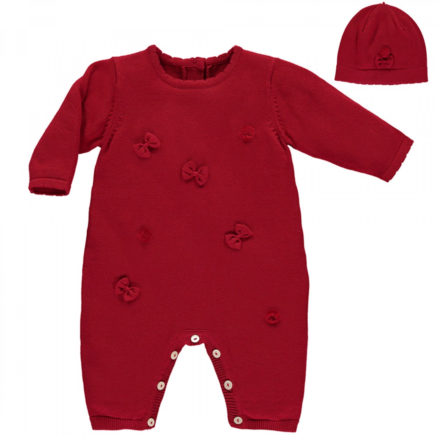 Emile et Rose Liz Red Bow & Pom Pom All in One with Hat
