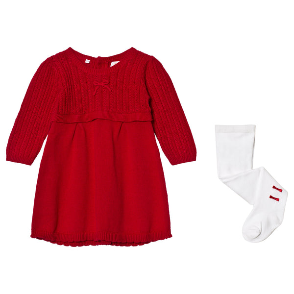 Emile et Rose Loralie Red Cable Knit Baby Girls Dress and tights