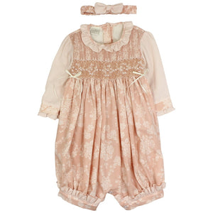 Pretty Originals smocked romper and headband
