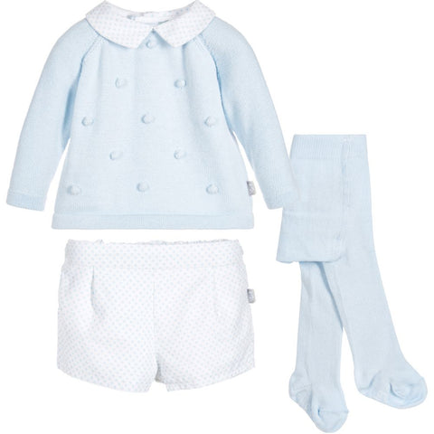 Tutto Piccolo Pale Blue 3 Piece Outfit Set