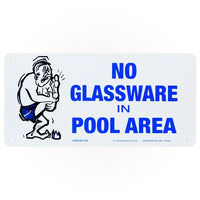 Poolmaster No Glassware in Pool Area Sign 41332 - Sunplay