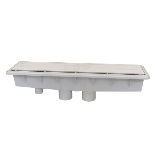 A&A Concrete Dual Suction w/ Hydrostatic Relief AVSC Channel Drain - Standard Top - White - 571903