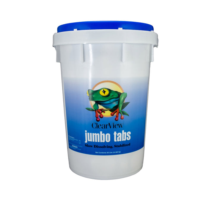 "ClearView 3"" Jumbo Tabs Chlorine Tablets - 50 Pounds - Unwrapped"