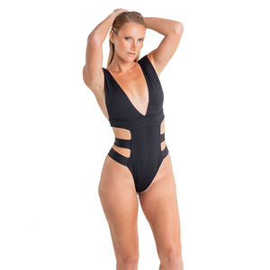 BLACK SWIMSUIT ONE PIECE EXOTIC SEXY CUTT OUT