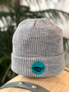Tuque de tricot patch / Gris chiné