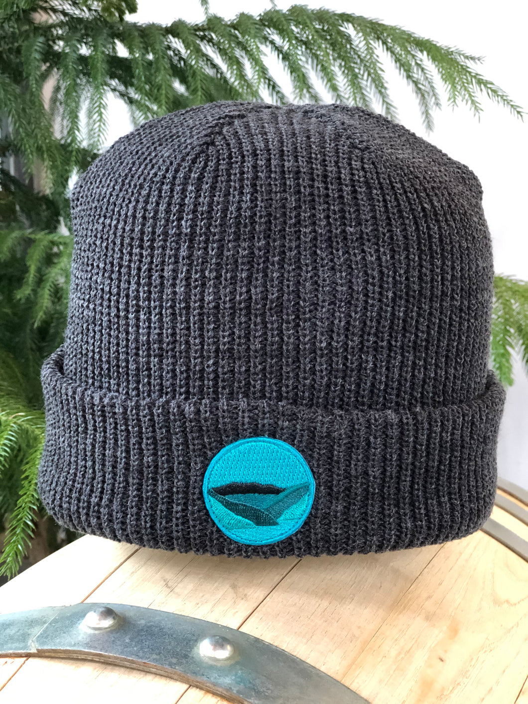 Tuque de tricot patch / Gris charcoal