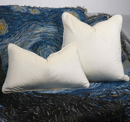 Piping Design Cream Velvet Cushion Cover