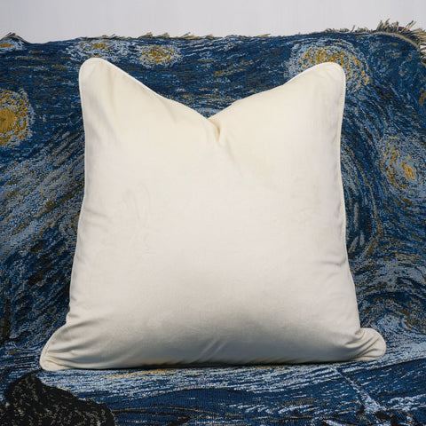 Cream Piping Velvet Cushion Cover - Cushify
