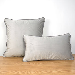 Piping Design Grey Velvet Cushion Cover