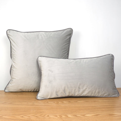 Grey Piping Velvet Cushion Cover - Cushify