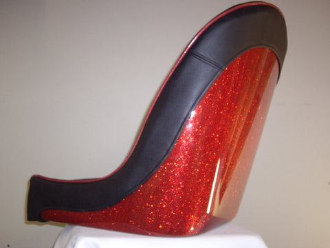 Retro Red Metal Flake Low Back Bucket Bomber Seats