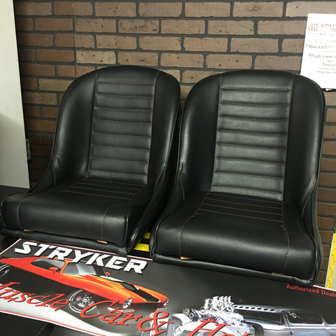 MGB GT Style Horizontal pleat low back bucket bomber seats