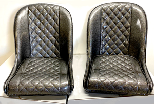 Retro metal flake Low Back Bucket diamond stitch bomber seats - strykerhotrod