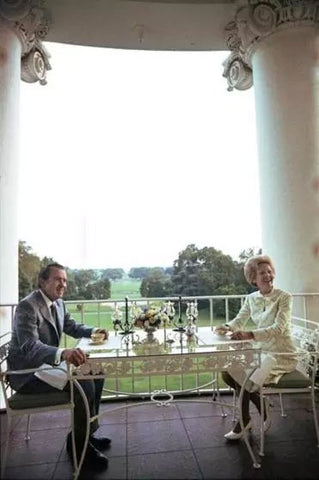 Richard Nixon drinking coffee on Truman Balcony