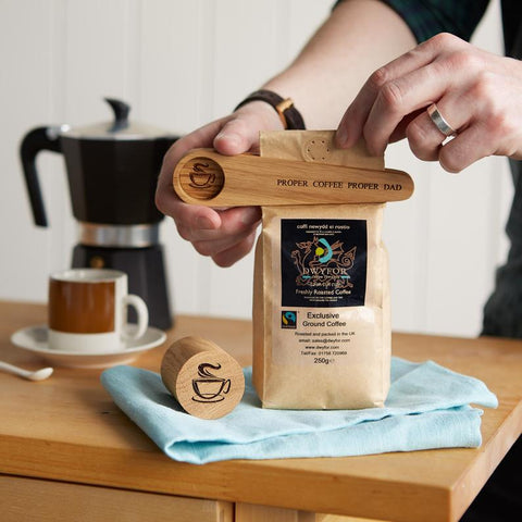 personalized wooden coffee scoop and bag clip