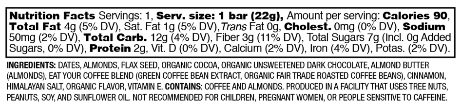 Nutrition Facts Cocoa Espresso