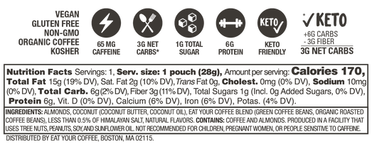 Almond Coconut Caffeinated Nut Butter Nutrition