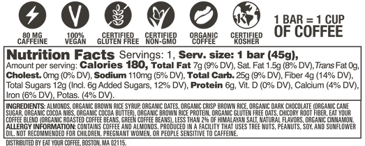 Fudgy Mocha Latte Caffeinated Snack Bar Nutrition