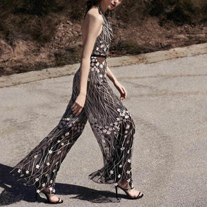 Floral Embroidered Black And Silver Jumpsuit
