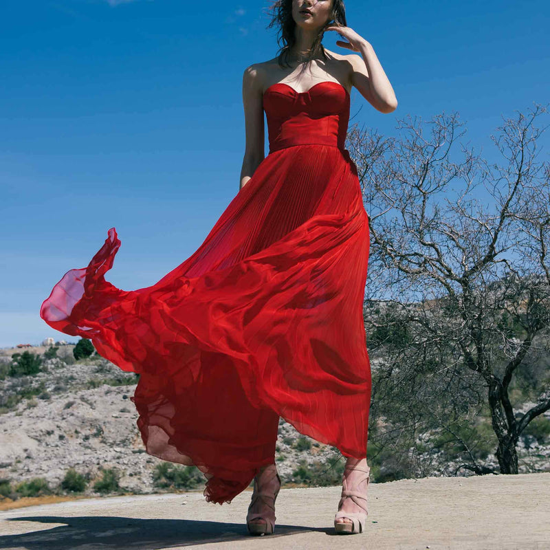 Red Corset Pleated Mousseline Dress