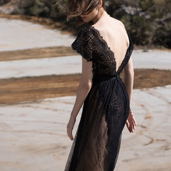 Guipure Crochet Black Lace With Tulle Dress
