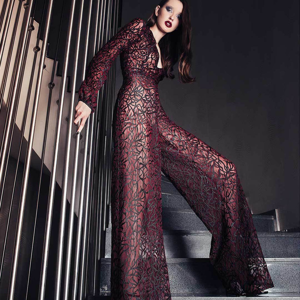 Silk Embroidered Burgundy Flared Legs Jumpsuit