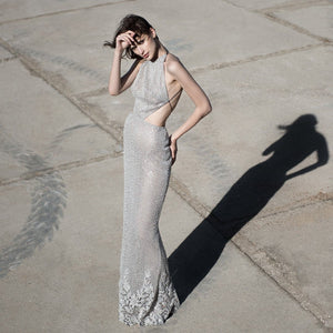 Silver Gray Couture Dress