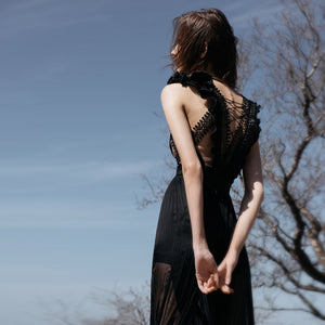 Black Guipure Mousseline Dress