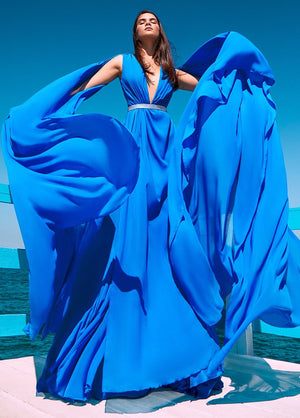 BLUE CAPE DRESS