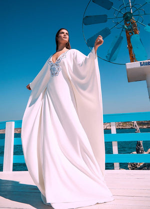 EMBELLISHED OFF-WHITE ABAYA