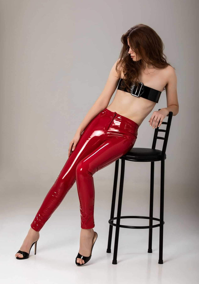Thunderbolt Red Latex Pants