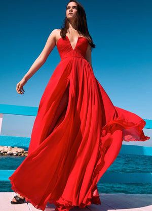 RED DRAPED DRESS