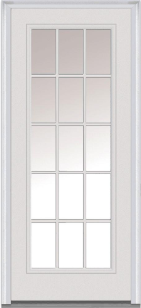Windows To Go 15 Lite Steel French Door with Mill Finish Sill, Double Bore, Primed Jambs, Bronze Weatherstrip, and Brickmould Casing