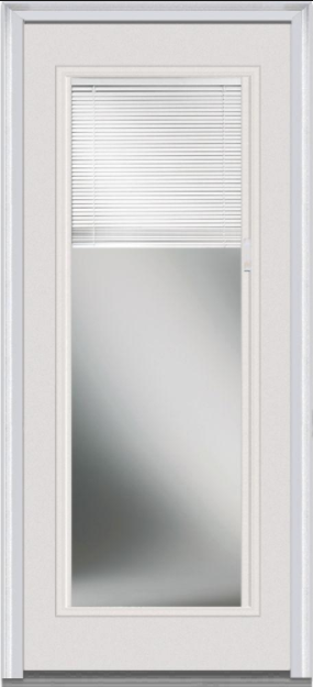 Windows To Go Full Lite Steel French Door with Mini Blinds, Mill Finish Sill, Double Bore, Primed Jambs, Bronze Weatherstrip, and Brickmould Casing