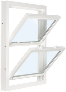 "Windows To Go Vinyl Replacement Windows, Double Hung, LowE with Argon, Extruded Half Screen, Welded Frame, Sloped Sill, 3-1/4"" Jamb, with Head Expander and Sill Angle"