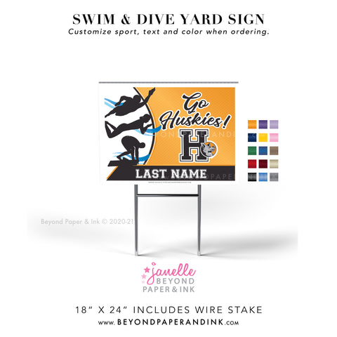 Swim & Dive Yard Signs