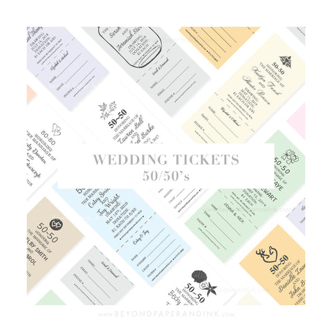 """Wedding Tickets: 50/50's"" - Stag n' Drag Buck n' Doe 50/50 Raffle Tickets by Beyond Paper & Ink"